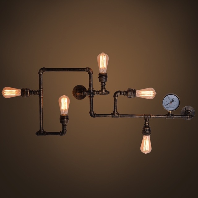 led景观亮化loft美式乡村复古阳台创意壁灯个性美式餐厅酒吧工业水管壁灯具型号LGM-BDJNDZ-001