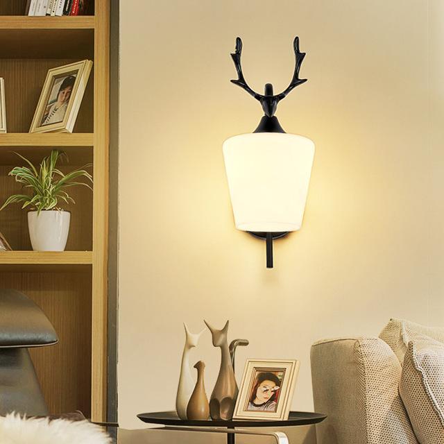 新北欧鹿角壁灯创意卧室床头灯客厅电视机背景墙装饰网红ins灯饰型号LGM-BDJNDZ-016