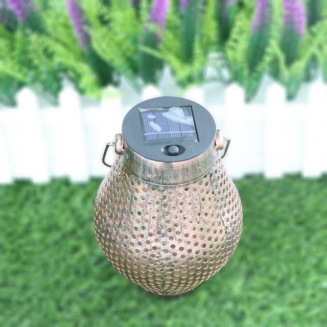 跨境 太阳能铁艺投影LED灯 户外庭院草坪走廊灯 圣诞手提装饰挂灯