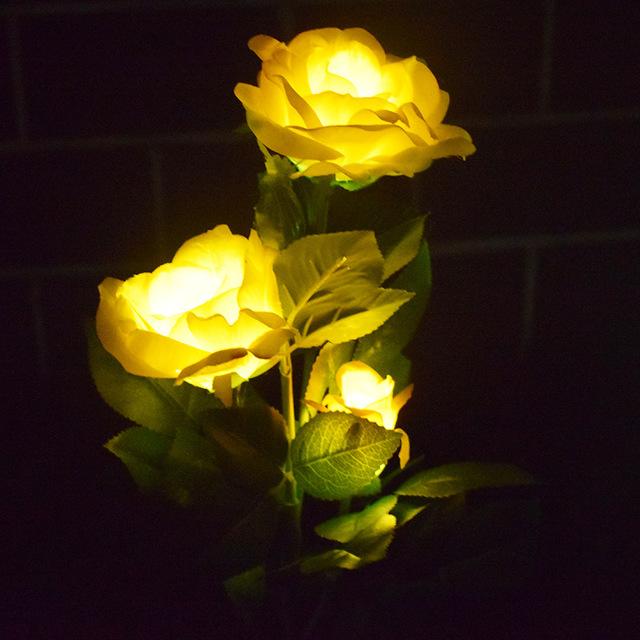 跨境 太阳能仿真玫瑰花灯 庭院装饰灯 3头花灯 太阳能草坪灯 型号LGM-CPD-HC194