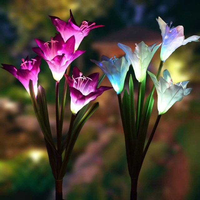 跨境太阳能仿真花4头花灯庭院地插草坪灯户外LED百合花装饰灯 型号LGM-CPD-HC199