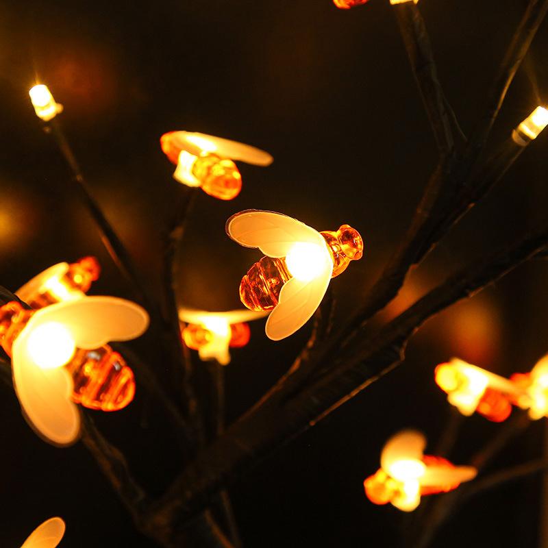 厂家直销LED小蜜蜂树灯室内防水彩灯装饰闪烁灯跨境热销款 型号LGM-JRD-SD278