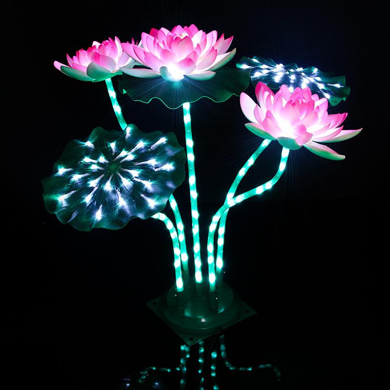 led荷花灯水池装修莲花景观灯三花两叶带杆发光河灯工厂定制生产花灯 型号LGM-JRD-HD289