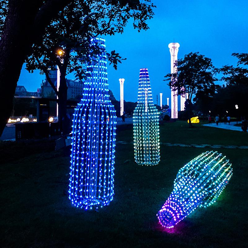 led景观亮化铁艺酒瓶造型灯led户外景观灯装饰可定制全彩户外创意造型景观灯 LGM-DZD-JPD332