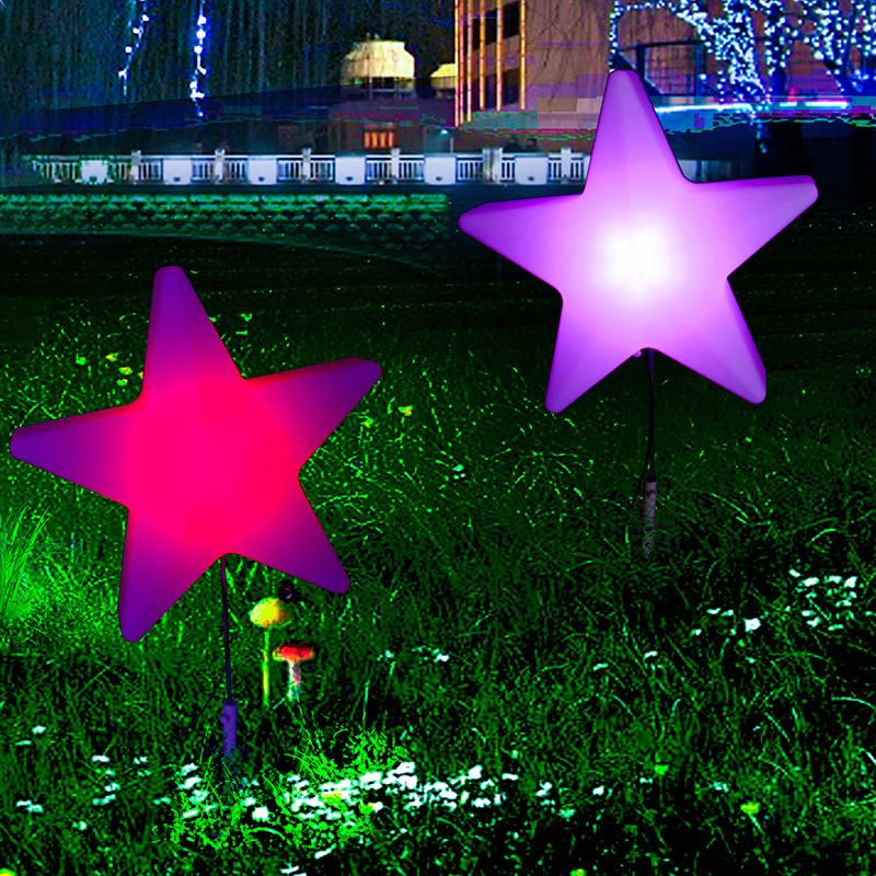 LED星星景观亮化灯草坪草地庭院摆放七彩变色PE星星景观赏灯美陈亮化灯 型号LGM-DZD-XXD358