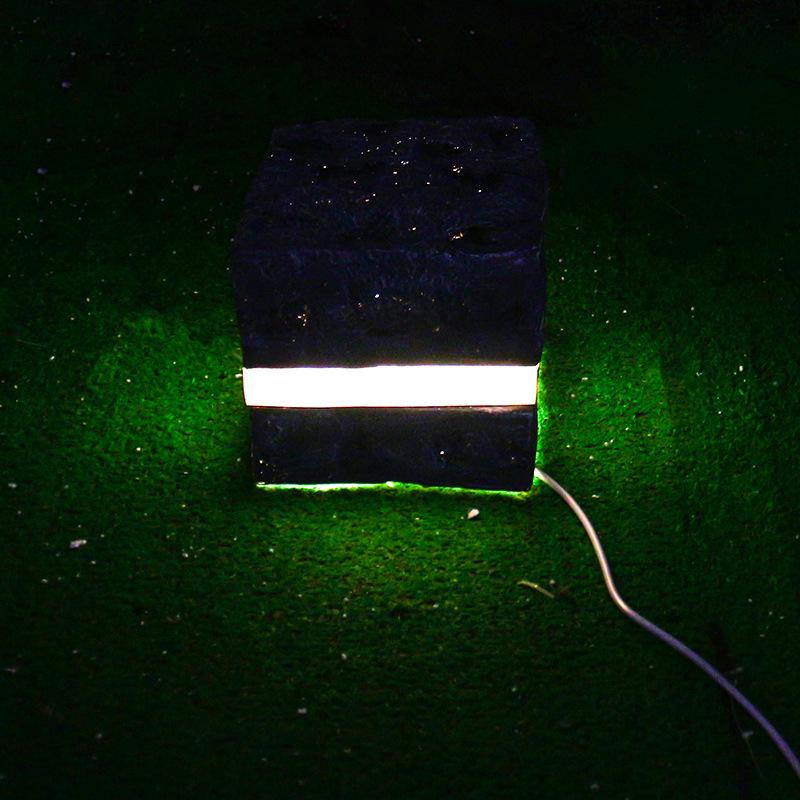 led景观亮化发光石头灯中间线条发光庭院灯草坪灯树脂造型景观灯公园景区亮化灯 型号LGM-DZD-STD365