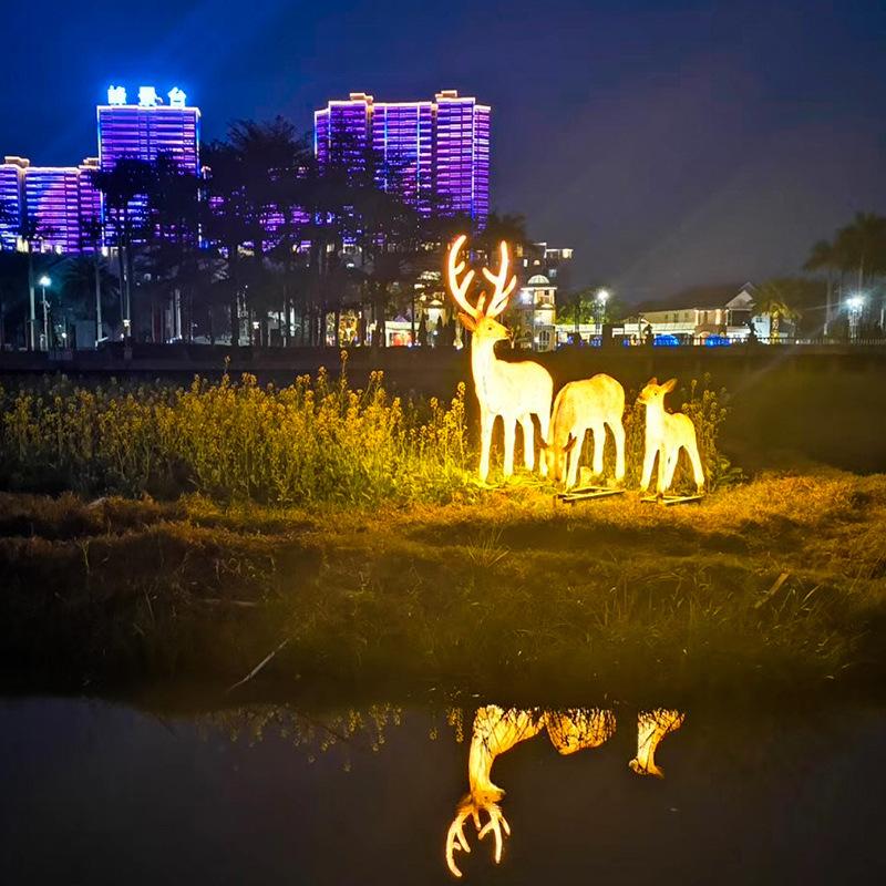led景观亮化仿真鹿造型灯梅花鹿景观灯公园庭院树脂造型灯具美陈亮化装饰灯 型号LGM-DZD-DWD394