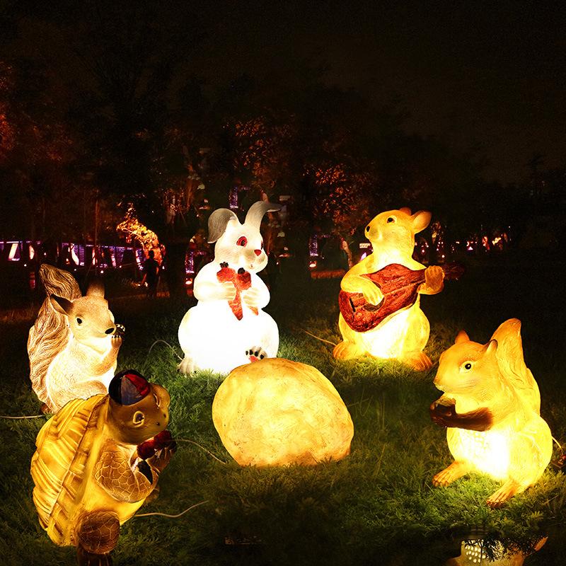 led景观亮化树脂动物造型灯 户外园林草坪灯兔子松鼠熊猫公园庭院景观灯 型号LGM-DZD-DWD412